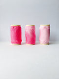 Kirsty Gadd Textiles - hand dyed silk ribbon magenta rose quartz pink. Hand made in the Cotswolds