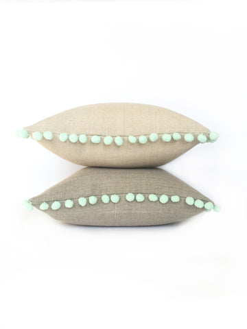 Natural Linen & Mint Green Pom Pom Bobble Trim Cushion - Various Sizes - MADE TO ORDER