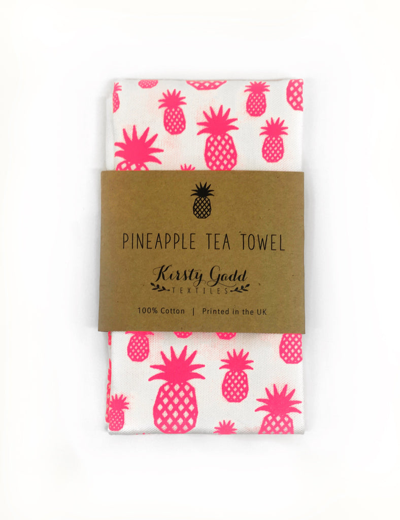 Kirsty Gadd Textiles - Neon Pink Pineapple Screen printed tea towel