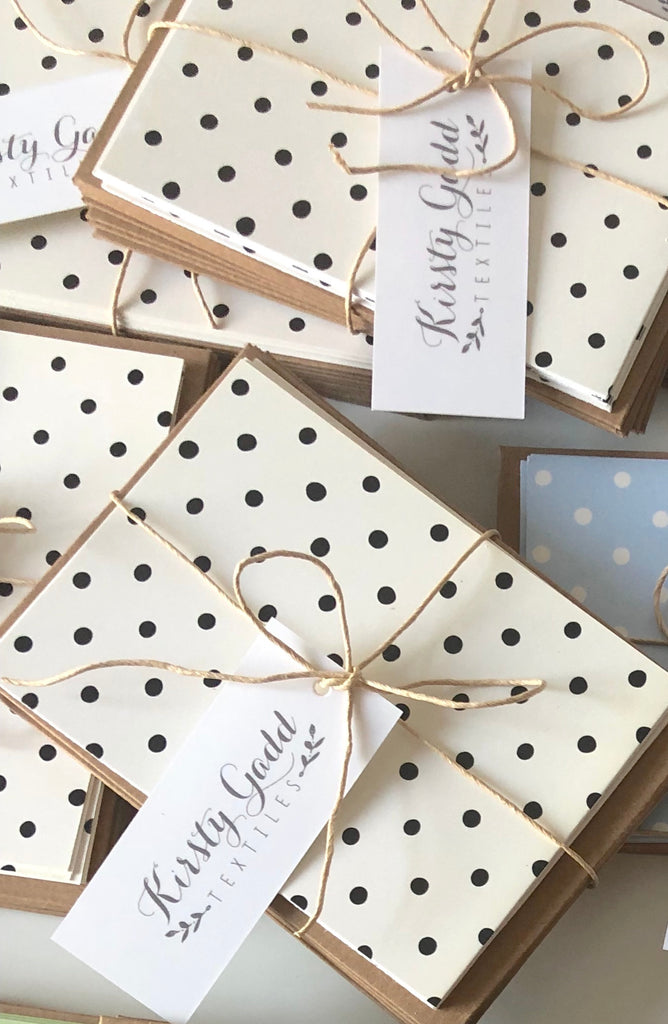 8 Pack of Polka Dot Notecards with Kraft Envelopes - A7 Size