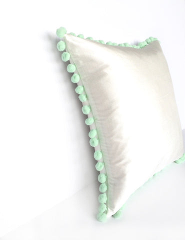 Ivory Silk & Mint Green Pom Pom Bobble Trim Cushion - Various Sizes - MADE TO ORDER