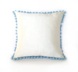 Ivory Silk & Blue Pom Pom Bobble Trim Cushion - Various Sizes - MADE TO ORDER