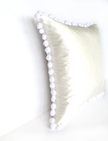 Ivory Silk & White Pom Pom Bobble Trim Cushion - Various Sizes