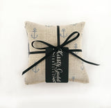 Cotswold Lavender Pillows - Anchor Print & Grey & Ivory Silk