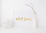 Kirsty Gadd Textiles Let it Snow Unframed or Framed Foil Print Gold or Silver