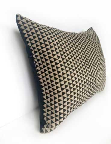 Dark Natural Linen & Black Silk, Black Triangle Screen Print Cushion