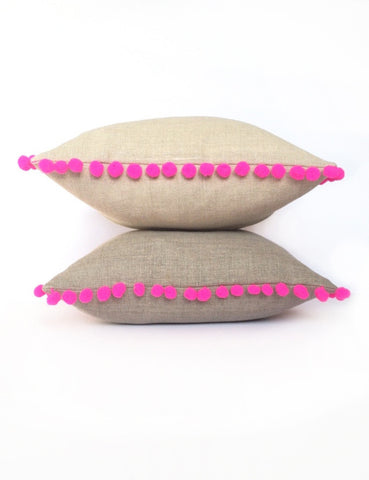 Natural Linen & Hot Neon Pink Pom Pom Bobble Trim Cushion - Various Sizes - MADE TO ORDER