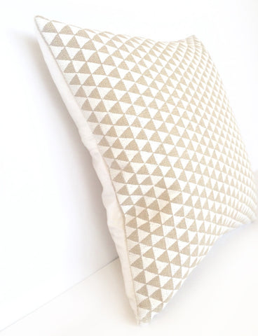 Light Natural Linen & Ivory Silk, White Triangle Screen Print Cushion