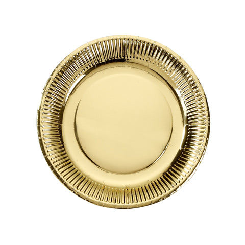 Gold Foiled Paper Plate - 8 Pack