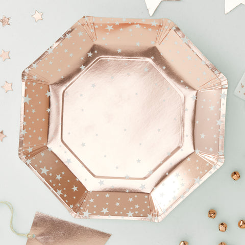 Rose Gold Foiled Star Design Paper Plates - 8 Pack - Metallic Star