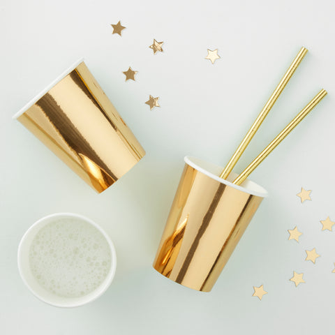 Gold Foiled Paper Cups - 8 Pack - Metallic Star