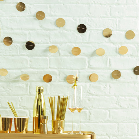 Gold Foil Circle Garland- 5m - Metallic Star