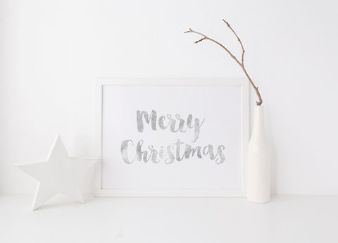CLEARANCE: Merry Christmas Print - A4 Silver or Gold