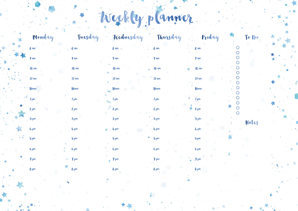 Kirsty Gadd Textiles Printable Download Weekly Planner Star Print watercolour