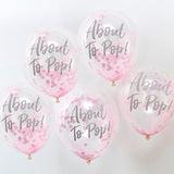 Pink Confetti 'About To Pop' Balloons - 5 Pack