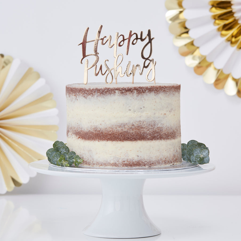 Gold 'Happy Pushing' Cake Topper - Oh Baby