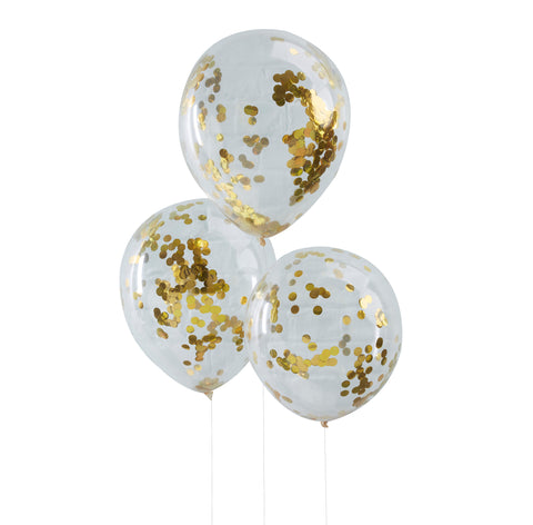 Gold Confetti Filled Clear Balloons - 5 Pack