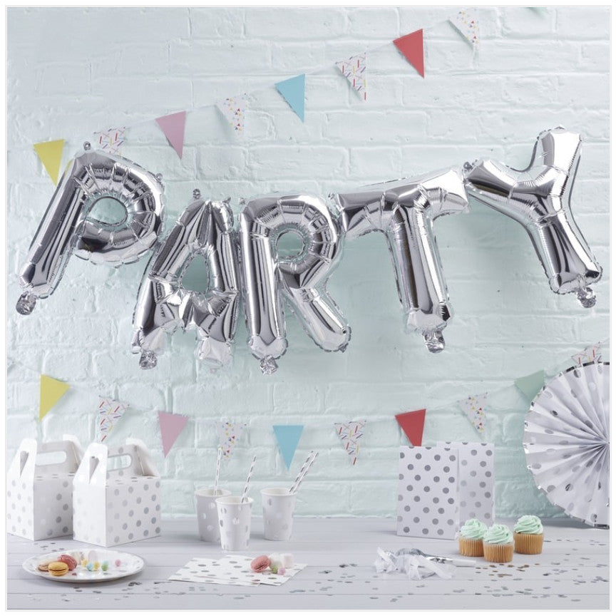Silver PARTY Balloon Bunting Kirsty Gadd Textiles Cirencester Cotswolds