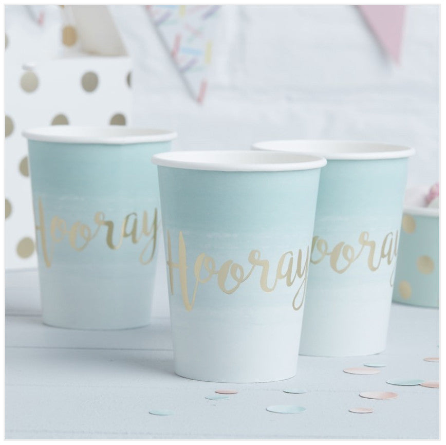 Mint & Gold Foiled Hooray Ombre Paper Cups Kirsty Gadd Textiles Cirencester Cotswolds
