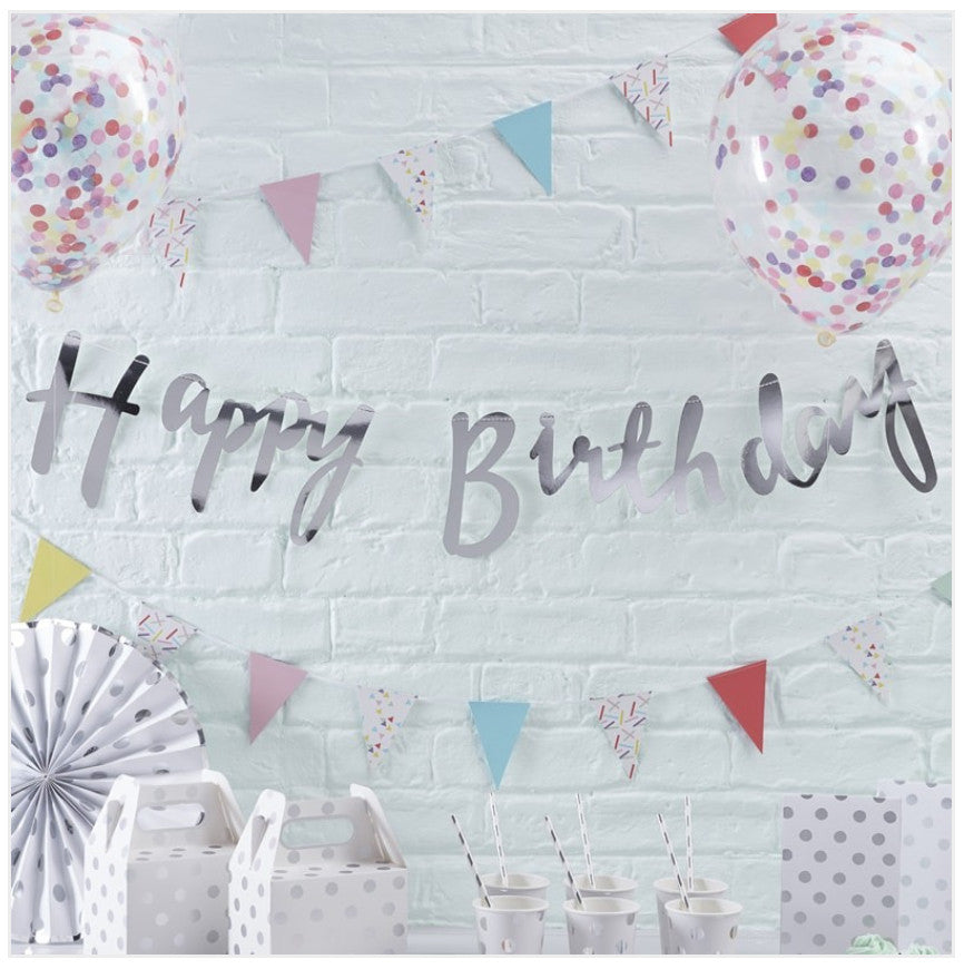 Silver Happy Birthday Banner Bunting Kirsty Gadd Textiles Cirencester Cotswolds