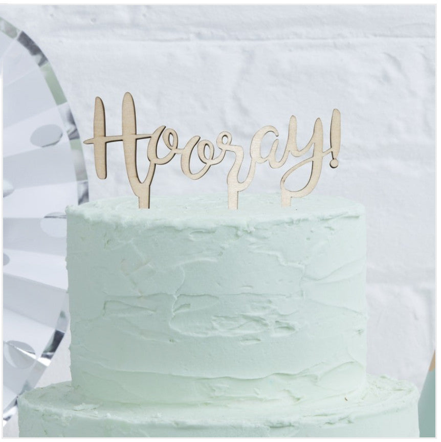 Hooray Wooden Cake Topper Kirsty Gadd Textiles Cotswolds