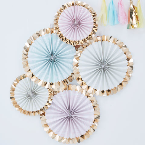 Gold Foil and Pastel Hanging Fan Decorations - 5 Pack