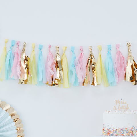 CLEARANCE: Blush Pink, Baby Blue & Gold Tassel Garland Decoration - 2m