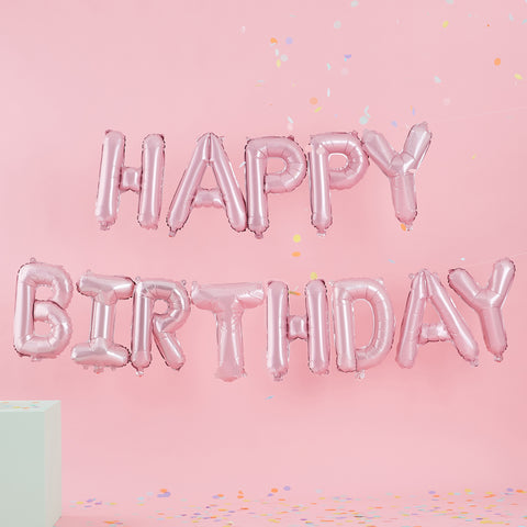 NEW! Matte Pink 'Happy Birthday' Balloon Bunting - NO HELIUM NEEDED