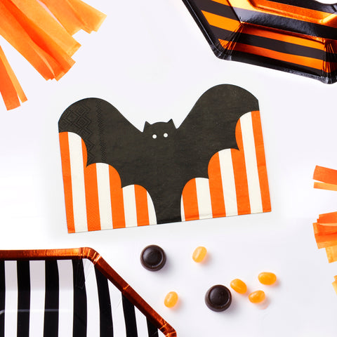 Bat Shaped Halloween Paper Napkins - 20 Pack - Pumpkin Party