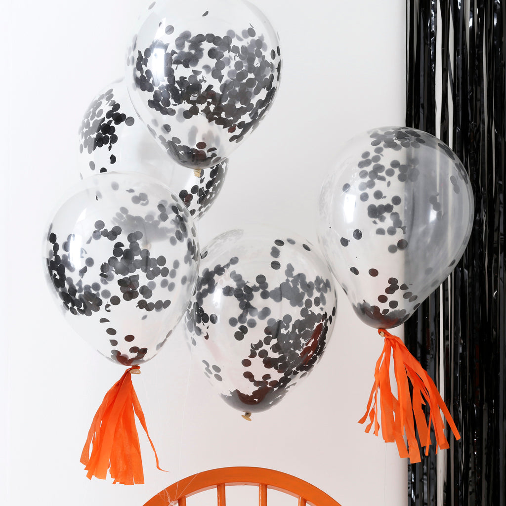 Black Confetti Balloons - 5 Pack - Pumpkin Party