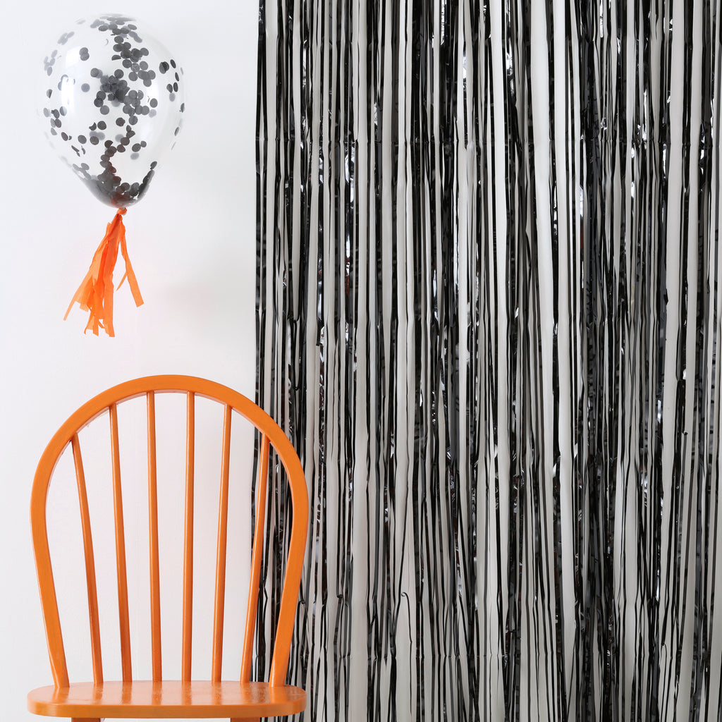 Black Fringe Curtain Decorations - Pumpkin Party  Halloween Prop	Halloween Party	Party Decoration	Spider Decoration	Jack O Lantern Prop	Scary Ghost Prop	Spooky Bunting	Foiled Halloween	Halloween Decor	Halloween Sign	Halloween Tassle	Spooky Backdrop	Halloween Wall cover