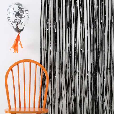 Black Fringe Curtain Decorations - Pumpkin Party