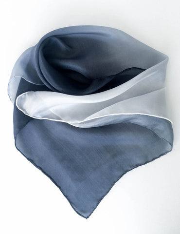 Blue Ombre Silk Neckerchief / Scarf