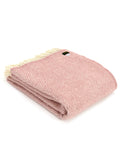 Kirsty Gadd Textiles Cotswolds - Beehive Dusky Pink Blanket Dusky Pink Beehive Wool Blanket - Pale Dogwood Pink | Modern House Decor | Cosy Sofa Blanket | Lounge Decor | Blush House Decor | Winter   Wool blanket throw	Woven Blanket	Sofa armchair decor	Living room Lounge	Bedroom bed throw	sofa blanket throw	Christmas Gift Idea	Ideas for her	House warming	Holiday Gift	Gift for gran nan	Modern Decor	Pink Pale Dogwood