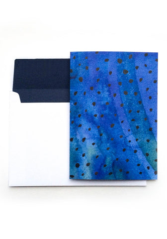 Blue & Black Polka Dot Notelet