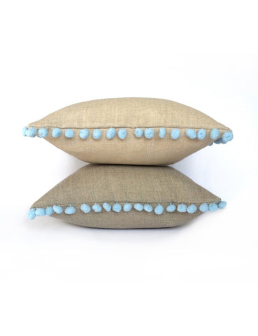 COMING SOON - Natural Linen & Soft Blue Pom Pom Bobble Trim Cushion - Various Sizes