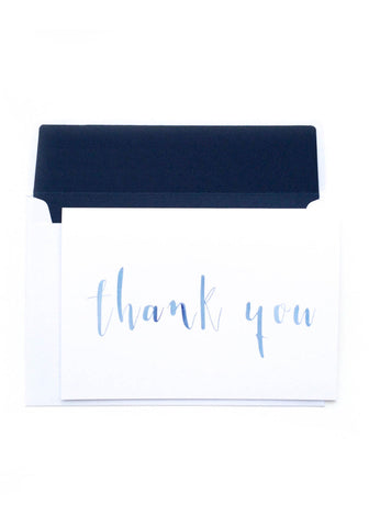 Thank You Card - Blue Watercolour
