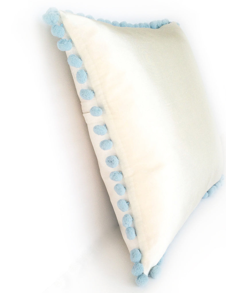 COMING SOON - Ivory Silk & Blue Pom Pom Bobble Trim Cushion - Various Sizes