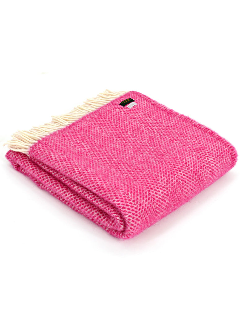 Kirsty Gadd Textiles Cotswolds Cerise Beehive Wool Blanket - British Made.