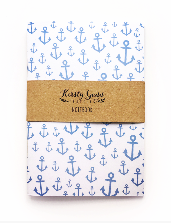 Kirsty Gadd Textiles Blue Anchor Printed Notebook