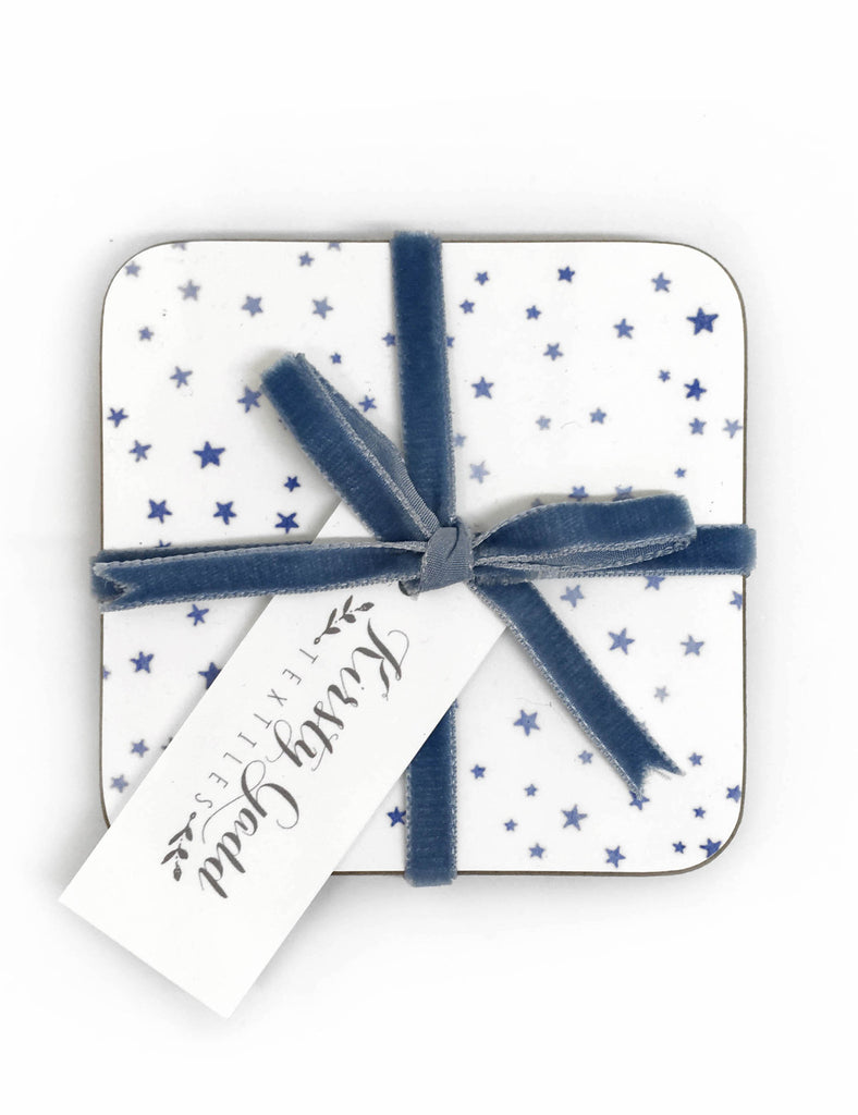 Kirsty Gadd Textiles Blue Star Coaster 4 pack tied with blue velvet ribbon