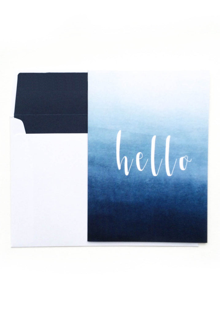Hello Card - Blue Ombre