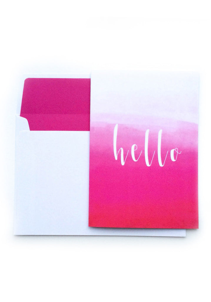 Hello Card - Pink Ombre