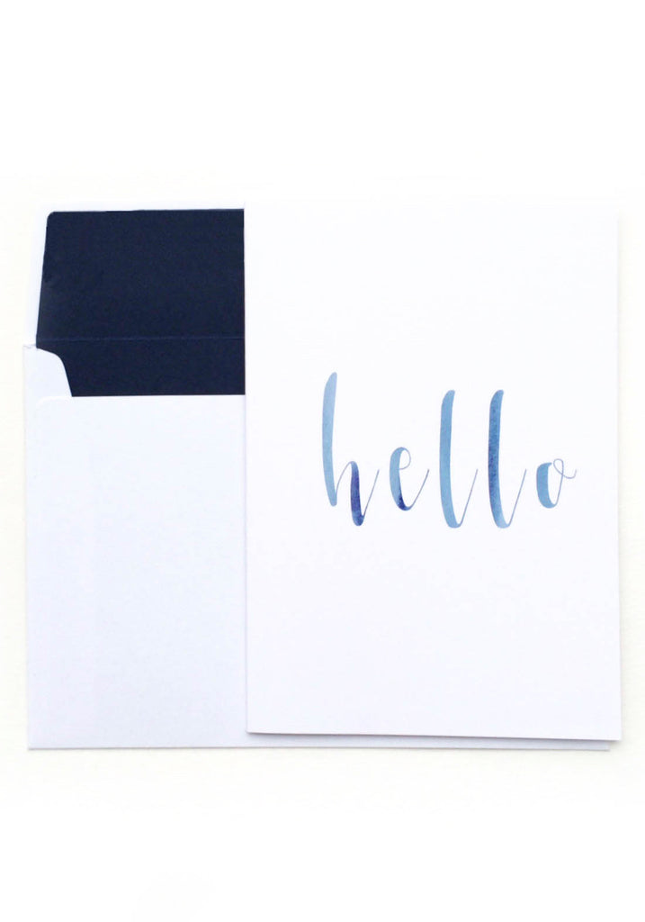 Hello Card - Blue Watercolour