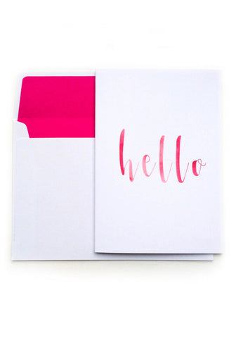 Hello Card - Pink Watercolour