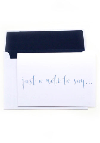 Just a Note to Say... - Blue Watercolour Notelet