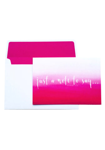 Just A Note To Say... Hot Pink Ombre Notelet