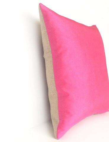 Mid Pink Silk & Natural Linen Luxurious Handmade Square Cushion - Various Sizes - Hand-dyed