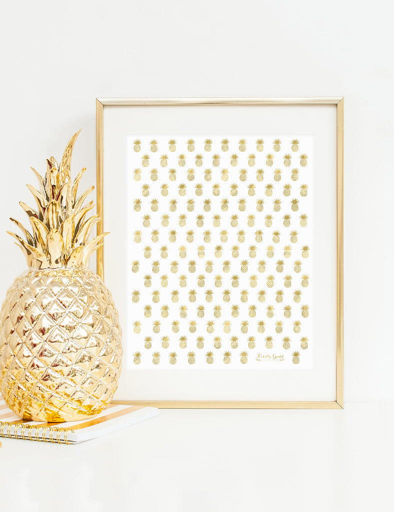 Pineapple Print - Gold Foil & Hot Pink