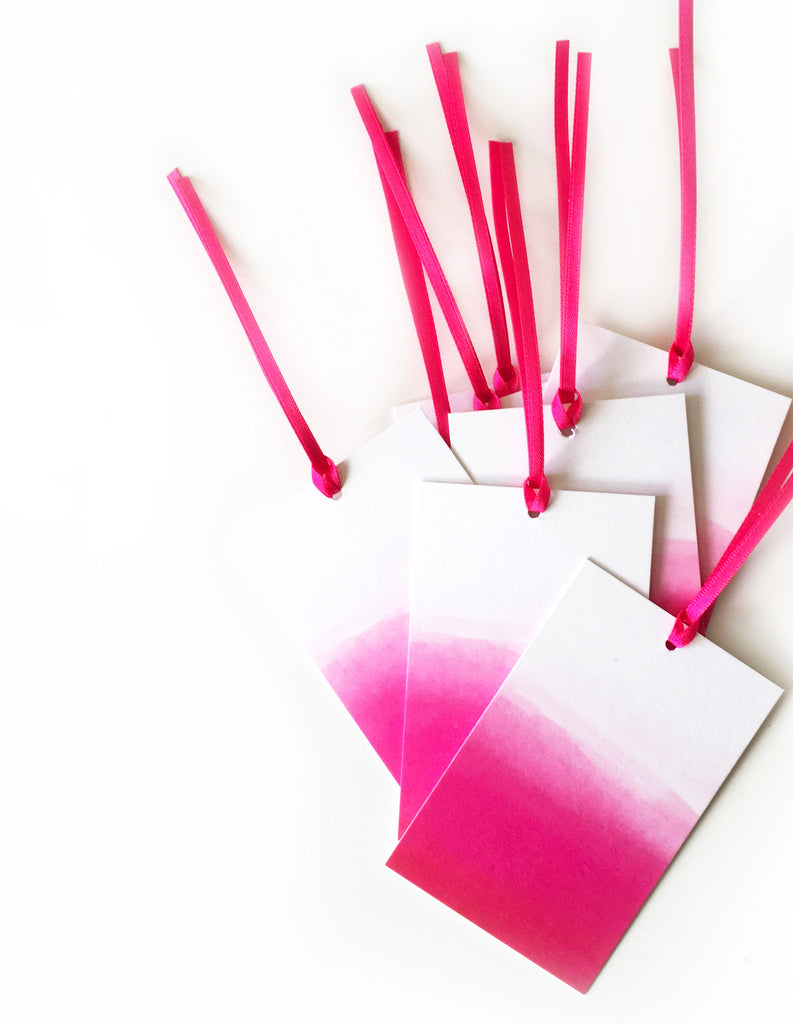 Kirsty Gadd Textiles - Hot Pink Ombre Eco Gift Tag